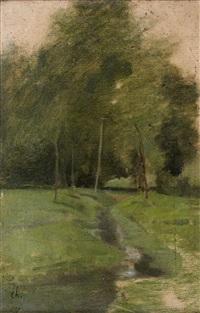 près [de] montchauvet, chemin allant au moulin (study) (retouched by corot) by antoine chintreuil